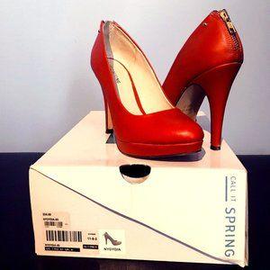 Call It Spring Heels in Size 7 - Orange w/Gold Zip
